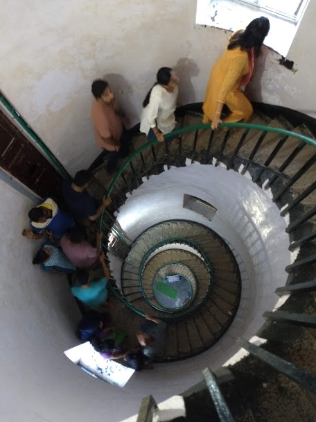 A spiral staircase is one of the attractions of a lighthouse