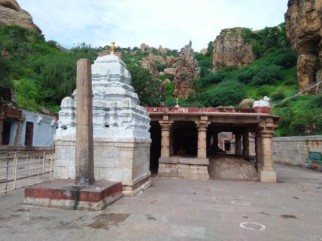 Backdrop of Yaganti temple